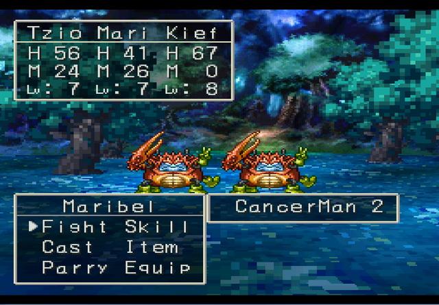 Dragon Quest VII combat gameplay screenshot Maribel vs Cancerman