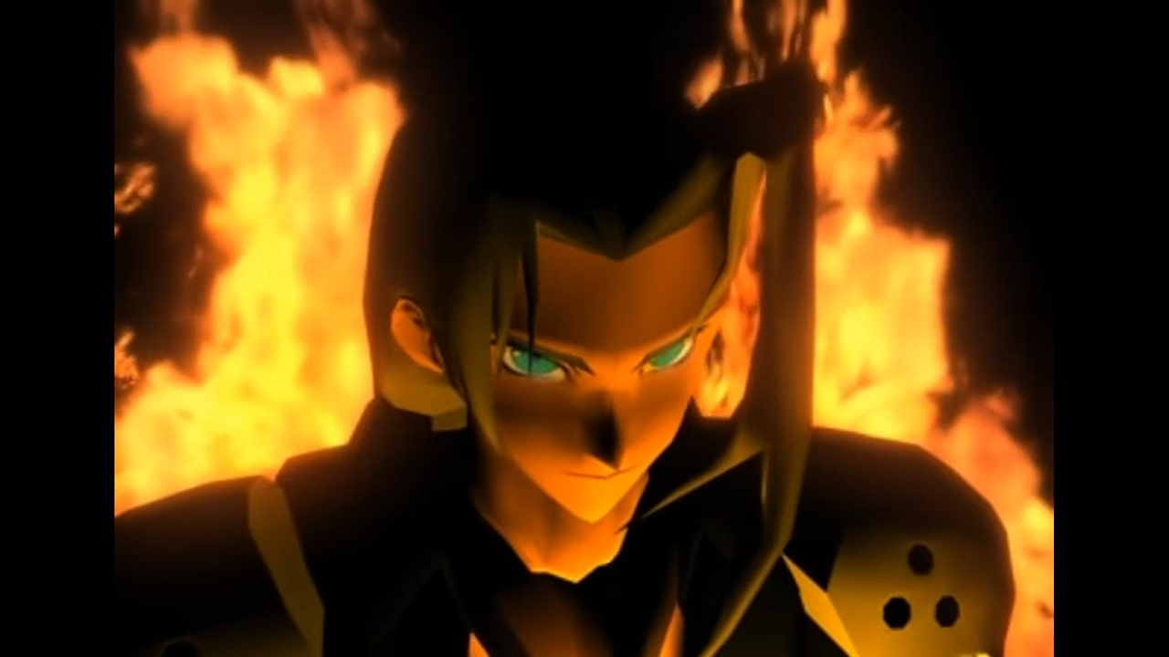sephiroth surrounded by flames screenshot