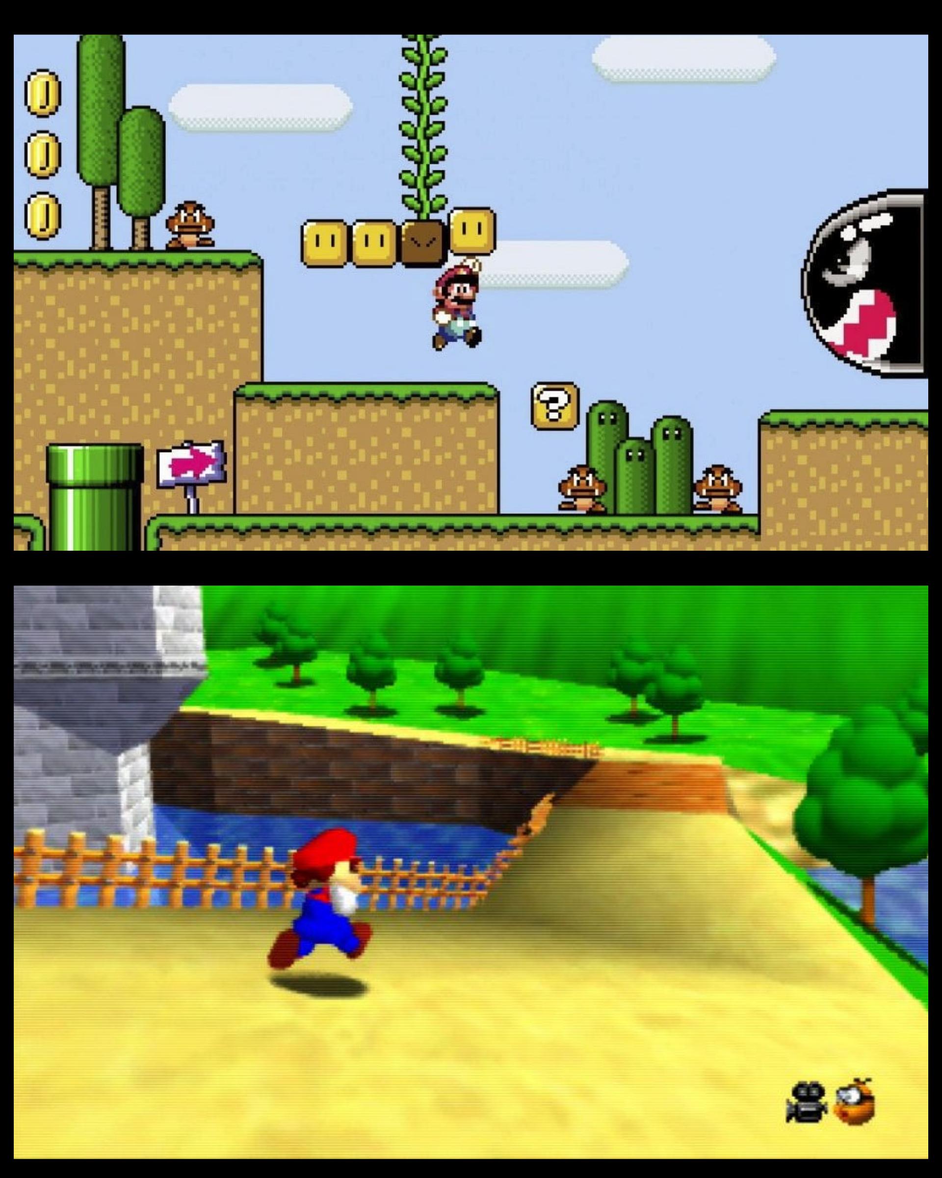 Super Mario 64 vs Super Mario World