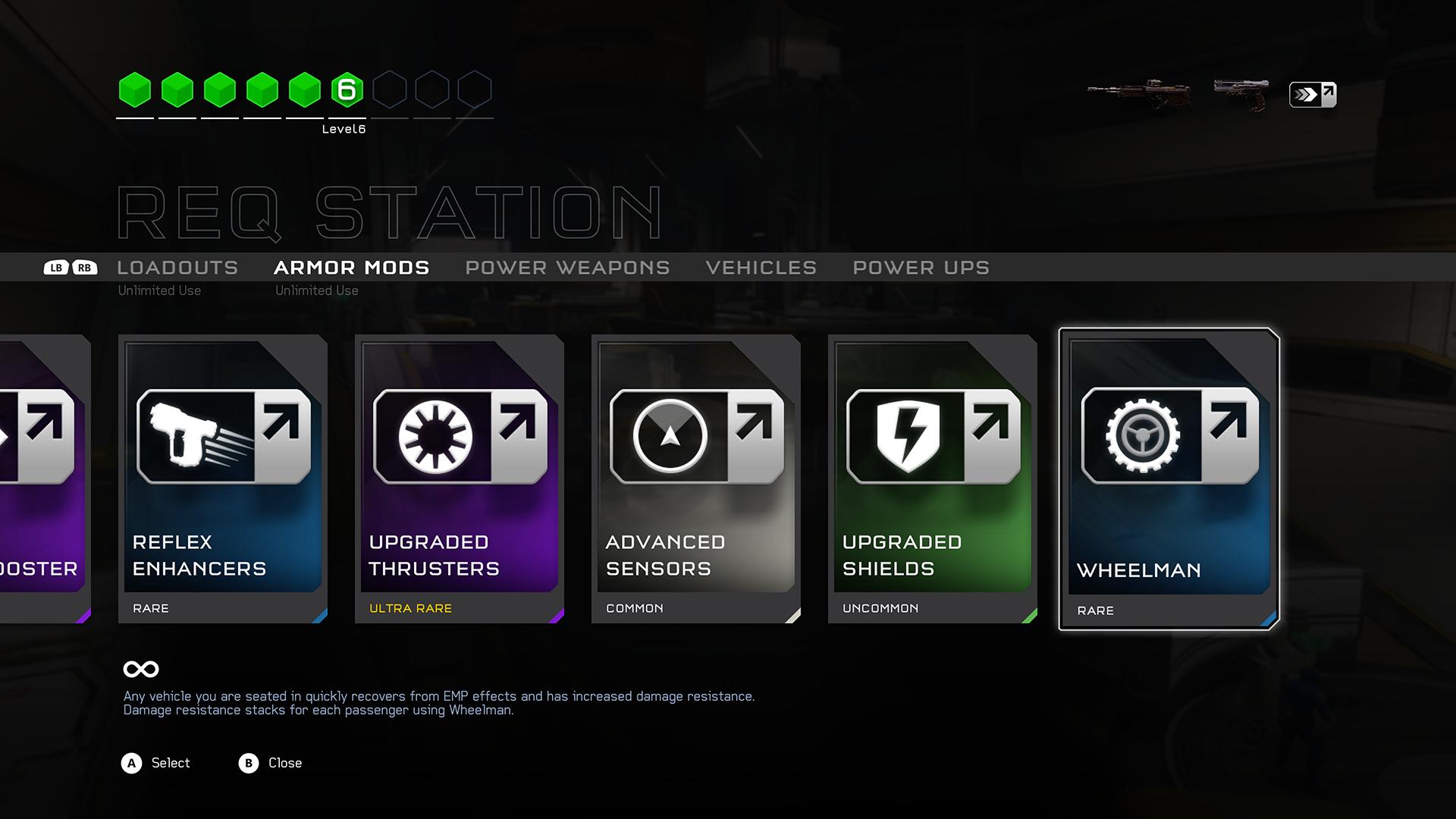 Halo 5: Guardians multiplayer armor mod selection screenshot