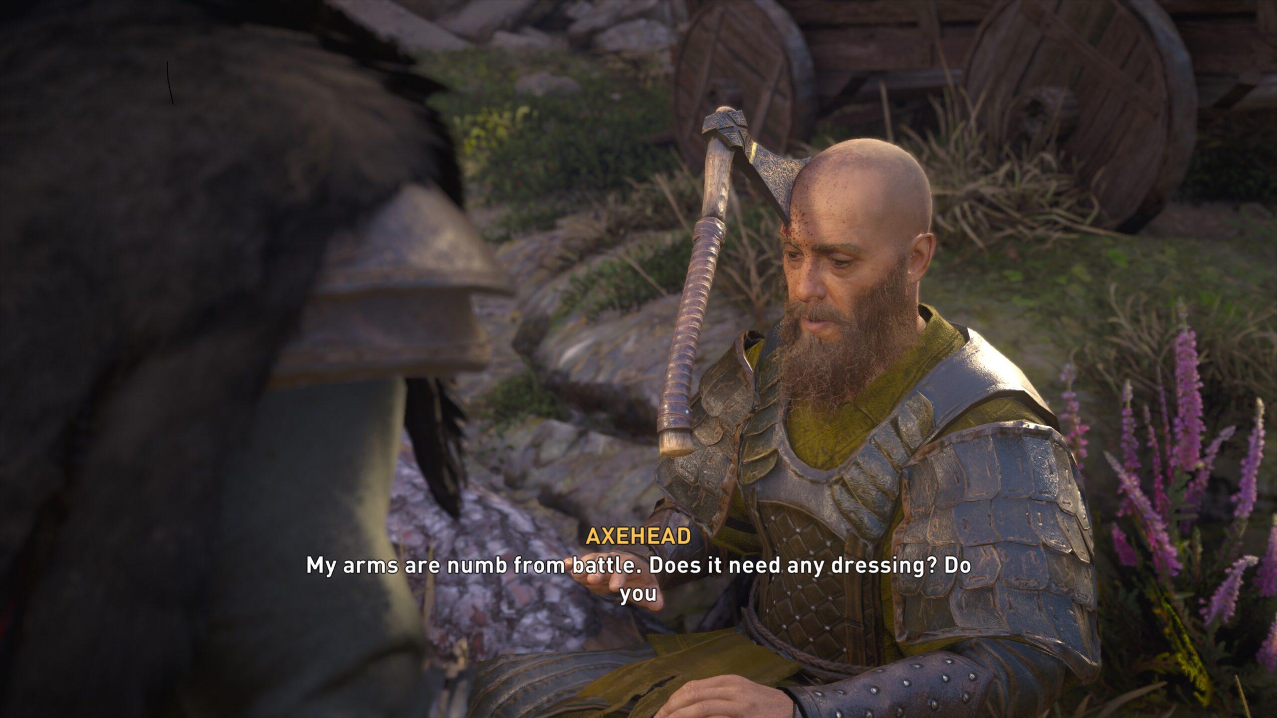 Man with Axe on head Valhalla AC