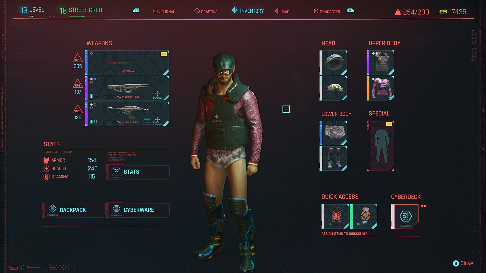 cyberpunk 2077 character loudout screenshot