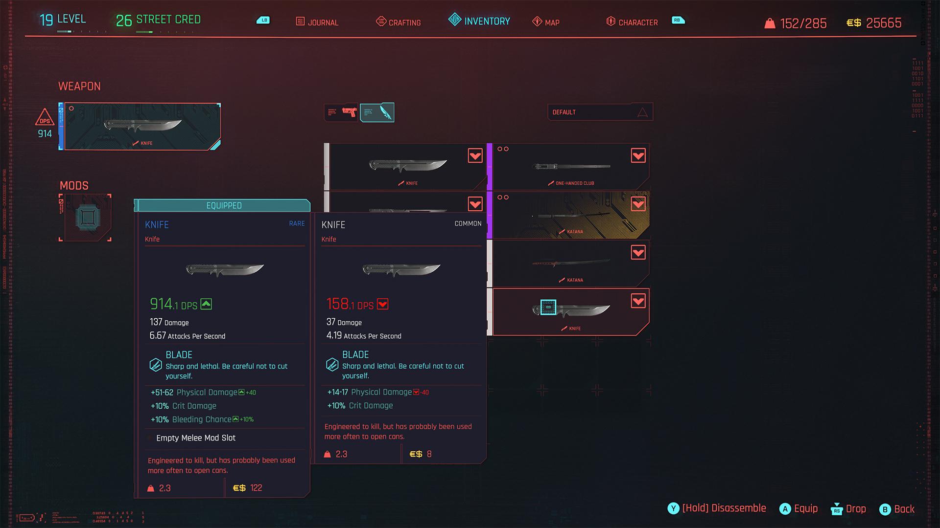Cyberpunk 2077 knifey item screenshot
