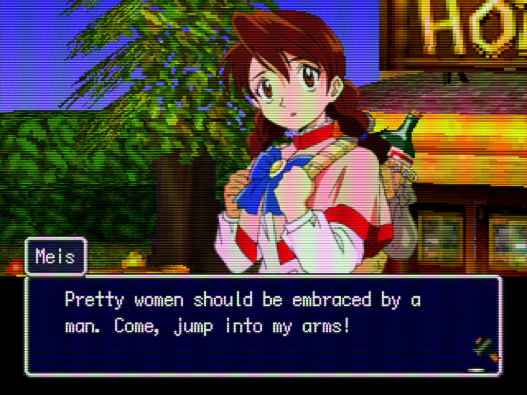 Thousand Arms dialog Meis says pretty women should be embraced by a man come jump into my arms quote