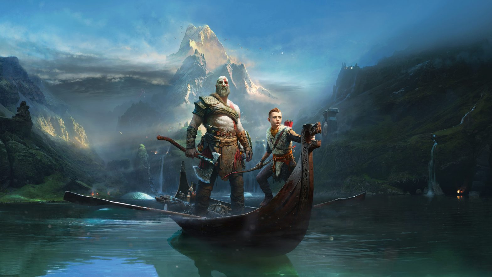 Kratos and Atreus on their boat in God of War