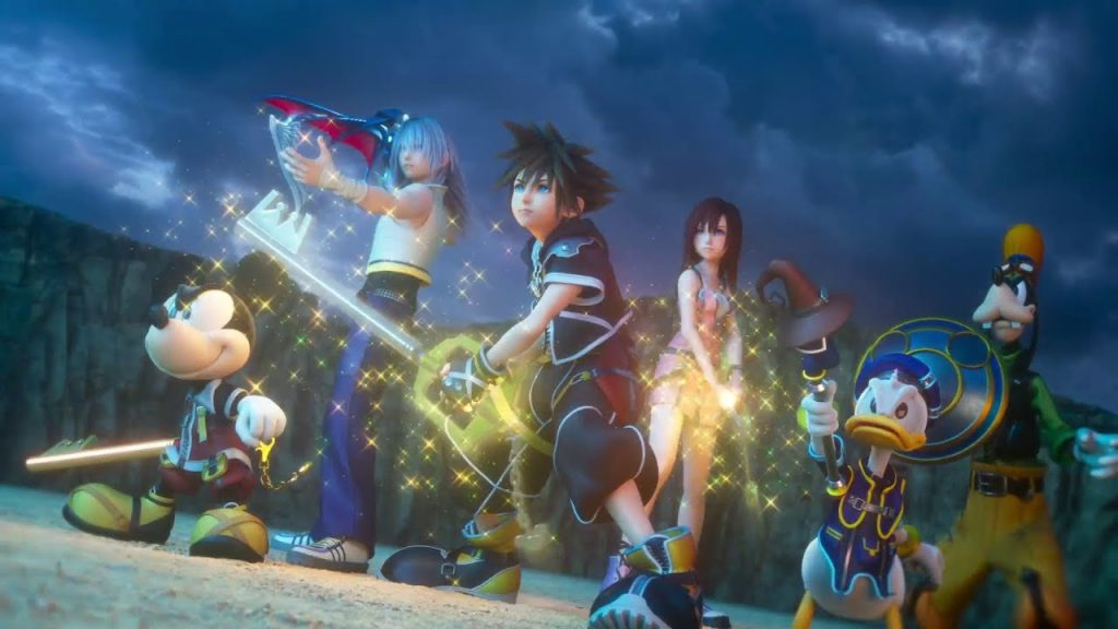 Shows the main cast of Kingdom Hearts 3 preparing for battle
