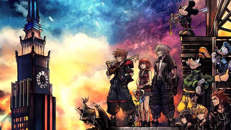 Kingdom Hearts 3 cover art showing multiple characters.