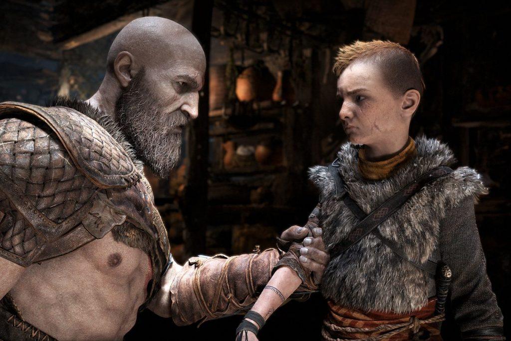 Kratos lecturing Atreus about combat