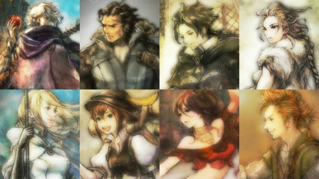 All eight party members from Octopath Traveler