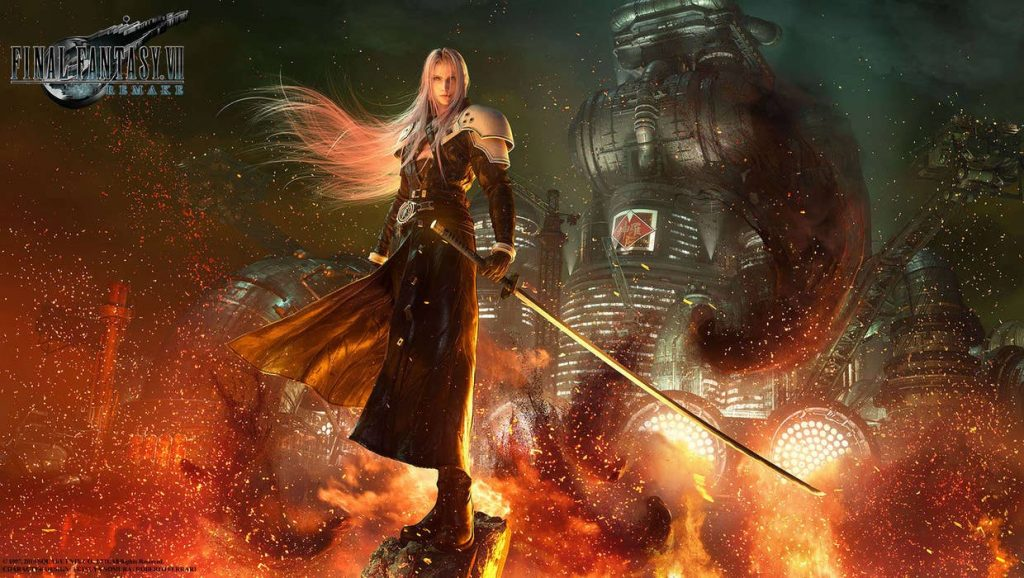 Sephiroth with Midgar in the background from Final Fantasy VII Remake RPG Villain