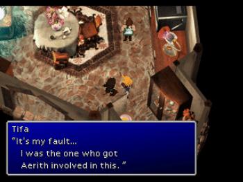 Tifa expresses guilt over Aerith in Final Fantasy VII