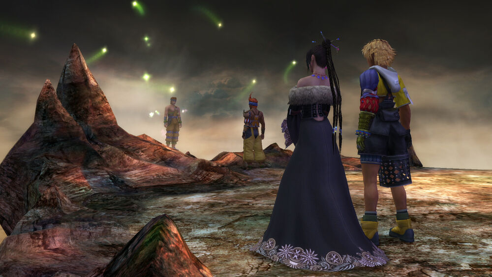 Wakka at the Farplane from Final Fantasy X with Lulu and Tidus