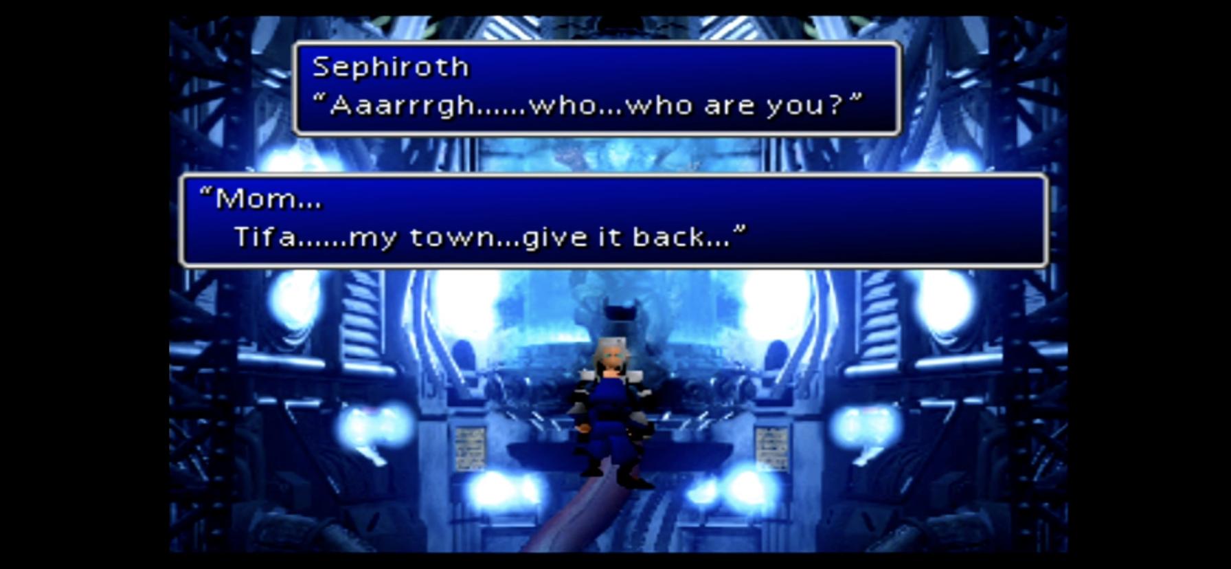 Cloud stabs Sephiroth Cloud vs Zack